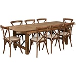 Flash Furniture 8x40 Farm Table 8 Chair Set Pine Wood (XAFARM12)