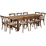 Flash Furniture 8x40 Farm Table 10 Chair Set Pine Wood (XAFARM13)