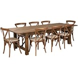 Flash Furniture 9x40 Farm Table 8 Chair Set Pine Wood (XAFARM14)