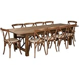 Flash Furniture 9x40 Farm Table 10 Chair Set Pine Wood (XAFARM15)