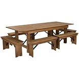 Flash Furniture 8x40 Farm Table 6 Bench Set Pine Wood (XAFARM3)