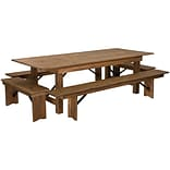 Flash Furniture 8x40 Farm Table 4 Bench Set Pine Wood (XAFARM5)