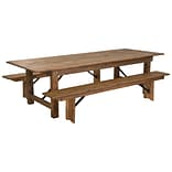 Flash Furniture 9x40 Farm Table 2 Bench Set Pine Wood (XAFARM6)