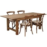 Flash Furniture 7x40 Farm Table 4 Chair Set Pine Wood (XAFARM8)