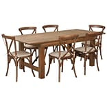 Flash Furniture 7x40 Farm Table 6 Chair Set Pine Wood (XAFARM9)