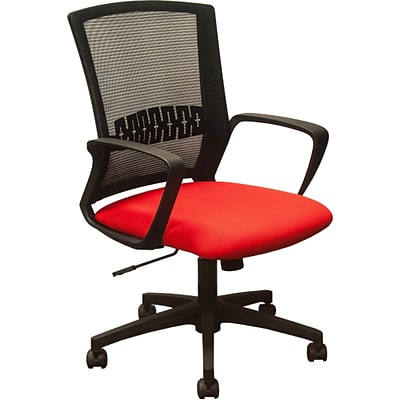 Advantage Black Mesh Office Chairs Red Padded Seat (KB-8929-RED)