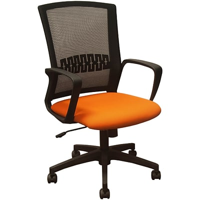 Advantage Black Mesh Office Chairs Orange Padded Seat (KB-8929-ORANGE)
