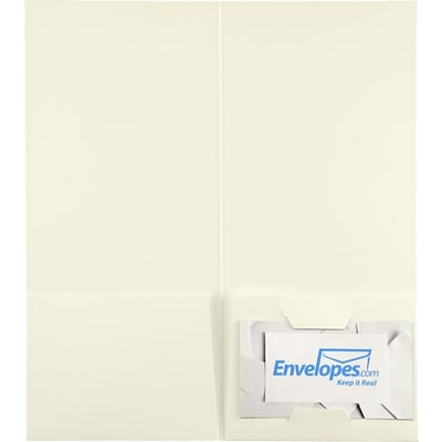 LUX 4 x 9 Mini Folders, Two Pockets, Natural White Linen, 25/Pack (49F-NLI-25)