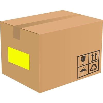 LUX 8.5 x 5.5 Half Sheet Rectangle Labels, 2 Per Sheet (500/Pack), Fluorescent Yellow (160FY-500)