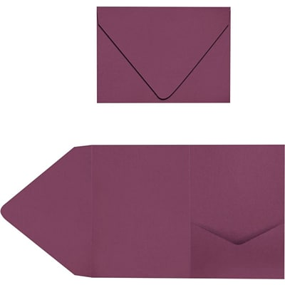 LUX A7 Pocket Invitations 20/Pack, Vintage Plum (LUX-A7PKT104-20)