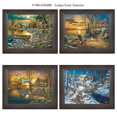 "Trendydecor4u 12 In. X 15 In. ""lodge Four Seasons"" Collection By Jim Hansen, Printed Framed Wall Art (v396 636mb)"