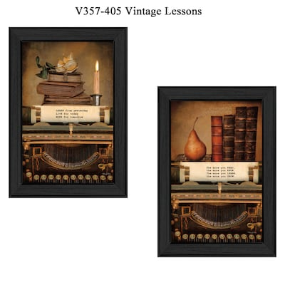 "Trendydecor4u 21 In. X 15 In. ""vintage Lessons"" Collection By Robin Lee Vieira, Printed Framed Wall Art (v357 405)"
