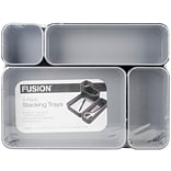 Advantus Black W/Gray Interior Fusion Stackable 4-Pack Trays (FS4P-37686)