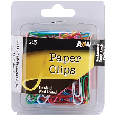 A & W Office Supplies Standard Paper Clips, Assorted Colors, 125/Pkg  (121-32)