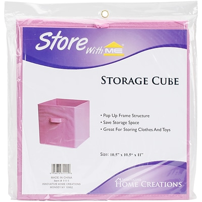 Innovative Home Creations Pink Square Fabric Storage Cube, 10.5 x 10.5 x 11 (1111-PINK)