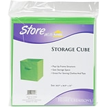 Innovative Home Creations Green Square Fabric Storage Cube, 10.5 x 10.5 x 11 (1111-GREEN)