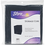 Innovative Home Creations Black Square Fabric Storage Cube, 10.5 x 10.5 x 11 (1111-BLACK)
