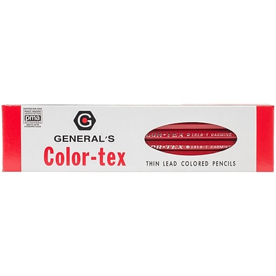 General Pencil Color-Tex Red Color Pencils With Eraser, 12/Pkg (1818T)