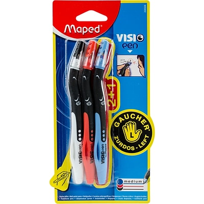 Maped Helix Usa Black, Blue, & Red Visio Left Handed Pens, 3/Pkg (224324)