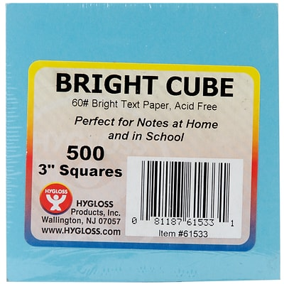 Hygloss Assorted Bright Colors Paper Cube, 3 x 3, 500 Sheets/Pkg (61533)