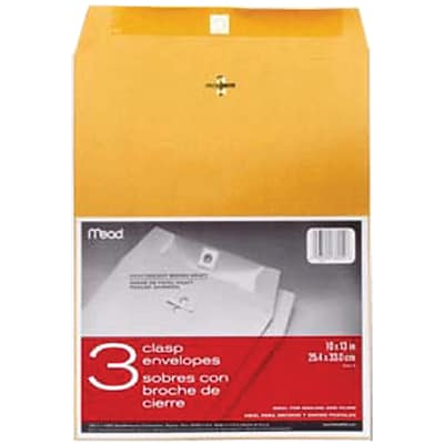 Mead Heavy Kraft Clasp Envelopes, 10 x 13, 3/Pkg (76014)