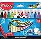Maped Helix Usa Color'Peps Maxi Broad Tip Ultra-Washable Markers, 12/Pkg (846049)