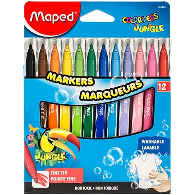 Maped Helix Usa ColorPeps Jungle Fine Tip Washable Markers, 12/Pkg (845448)