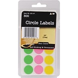A & W Office Supplies Neon Circles Labels, .75, 300/Pkg (AW251-47)