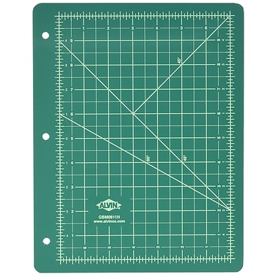 Alvin Professional Self-Healing Cutting Mat For 3-Ring Binders 8.5 x 11 - Green/Black