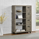 Ameriwood Home Eastlin Bookcase with Bins, Weathered Oak (9548096COM)