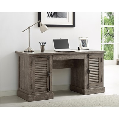 Ameriwood Home Sienna Park Double Pedestal Desk, Weathered Oak (9894096COM)