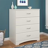 Ameriwood Home Crescent Point 4 Drawer Dresser, Vintage White (5977330COM)