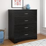 Ameriwood Home Crescent Point 4 Drawer Dresser, Black Oak (5977325COM)