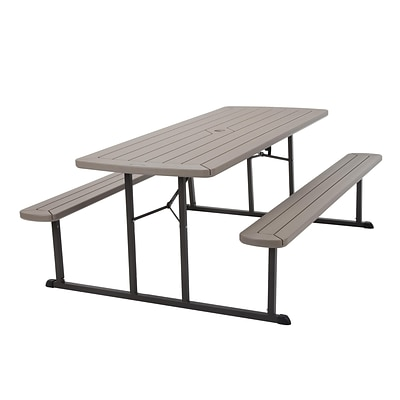 COSCO 6 ft. Folding Blow Mold Picnic Table, Gray Wood Grain with Brown Legs (87902GRY1E)
