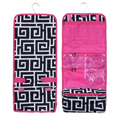 Zodaca Travel Hanging Cosmetic Carry Bag Toiletry Wash Organizer Storage - Black Greek Key with Pink Trim