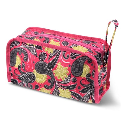 Zodaca Travel Cosmetic Makeup Case Bag Pouch Toiletry Zip Organizer - Pink Yellow Paisley
