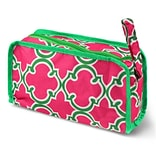 Zodaca Travel Cosmetic Makeup Case Bag Pouch Toiletry Zip Organizer - Pink Quatrefoil