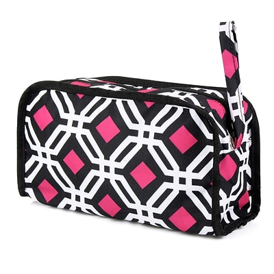 Zodaca Womens Hanging Travel Cosmetic Bag Toiletry Pouch Makeup Organizer Storage Case - Black Graphic