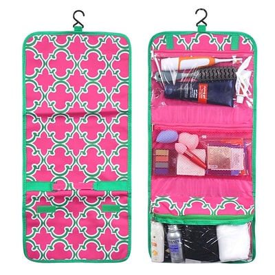 Zodaca Travel Hanging Cosmetic Toiletry Carry Bag Wash Organizer Storage - Pink Quatrefoil