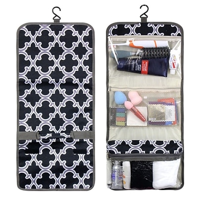 Zodaca Travel Hanging Cosmetic Toiletry Carry Bag Wash Organizer Storage - Black Quatrefoil