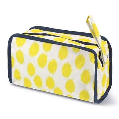 Zodaca Travel Cosmetic Makeup Case Bag Pouch Toiletry Zip Organizer - Yellow Dots Blue Trim