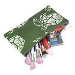 Zodaca Pencil Case Toiletry Holder Cosmetic Bag Travel Makeup Zip Storage Organizer - Green Turtle