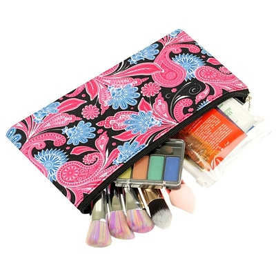 Zodaca Pencil Case Toiletry Holder Cosmetic Bag Travel Makeup Zip Storage Organizer - Pink Paisley
