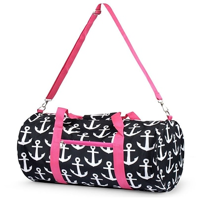 Zodaca Lightweight Classic Handbag Duffel Travel Camping Hiking Zipper Shoulder Carry Bag - Black Anchors with Pink Trim