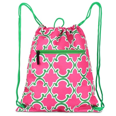 Zodaca Lightweight Sling Drawstring Bag Foldable Backpack Sports Gym Fitness - Pink Quatrefoil