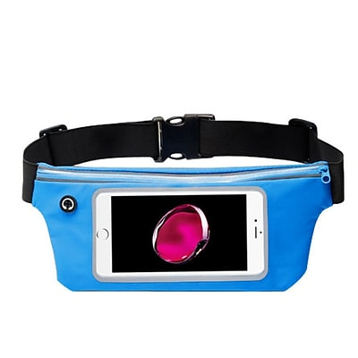 Insten Lightweight Sports Fitness Running Jogging Waist Pack Pocket Belt Pouch Bag Case - Blue (Size: 6.5 x 3.3)