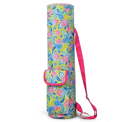 Zodaca Lightweight Durable Full-Zip Yoga Mat Gym Sports Bag with Pocket & Adjustable Shoulder Strap - Green/Pink Paisley
