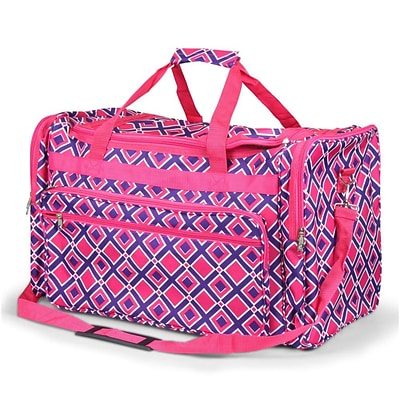 Zodaca Large Duffel Travel Bag Overnight Weekend Handbag Camping Hiking Shoulder Carry Bag - Purple/Pink Times Square