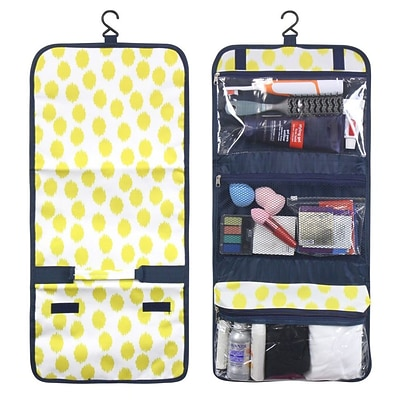 Zodaca Travel Hanging Cosmetic Toiletry Carry Bag Wash Organizer Storage - Clear Yellow Dots with Blue Trim