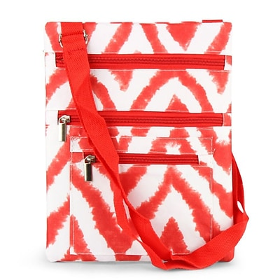 Zodaca Lightweight Padded Shoulder Cross Body Bag Messenger Travel Camping Zipper Bag - Chevron Tie Dye Red
